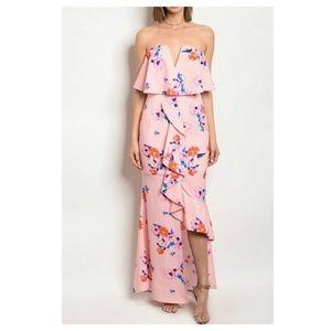 SUMMER CLEARANCE Pink Floral Maxi Dress
